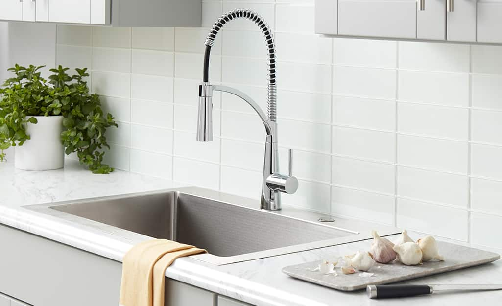 A new kitchen faucet with a flexible neck.