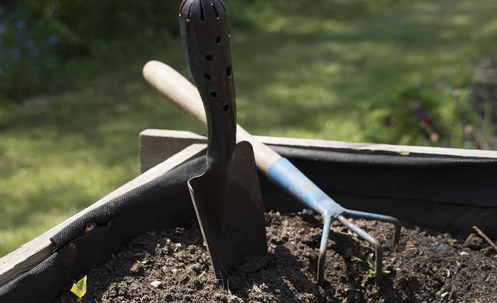 Garden hand tools in a raised bed garden.
