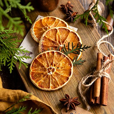 Dried citrus slices with spices