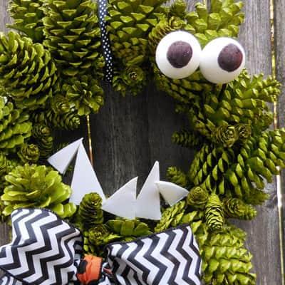 Make a Fun Pinecone Wreath for Halloween