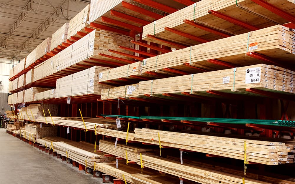 Different varieties of lumber on pallets.