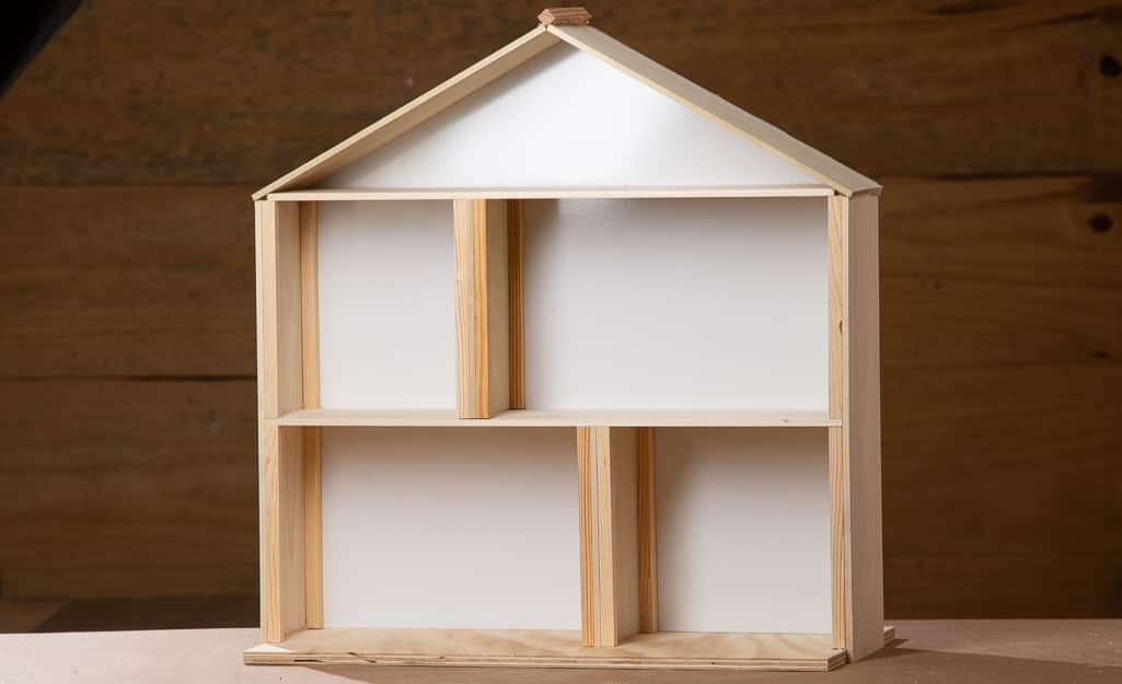 The inside of the finished dollhouse.