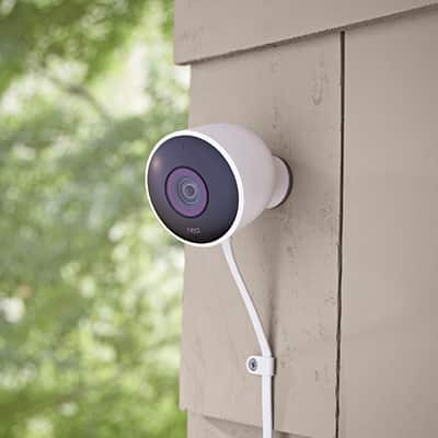 A DIY-installed home security camera.