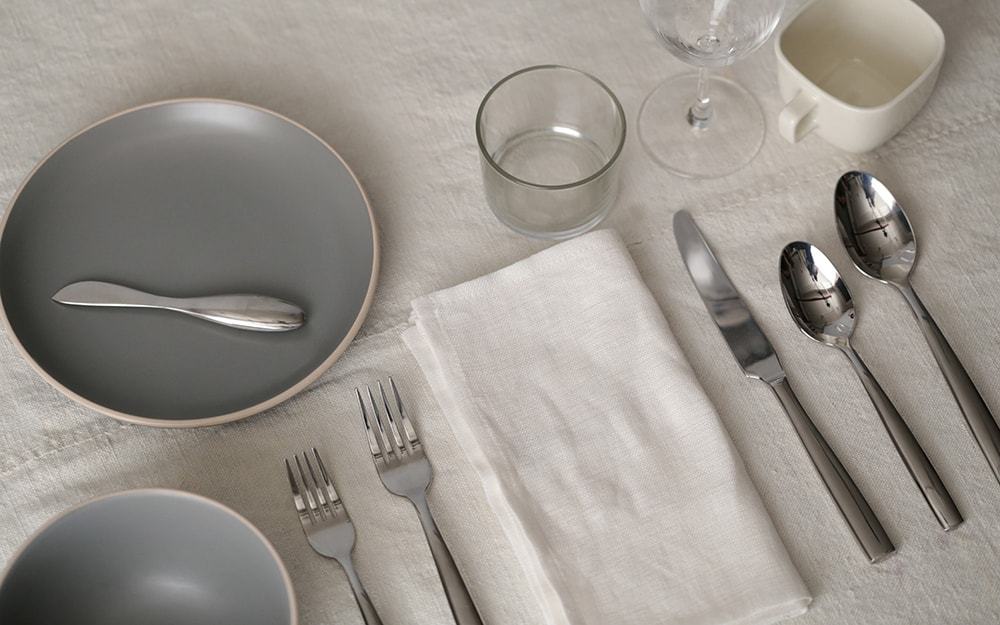 A place setting for a seated dinner.