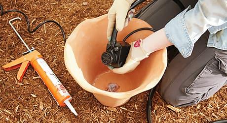 Connect pump -  Make Terra Cotta Pot Fountain