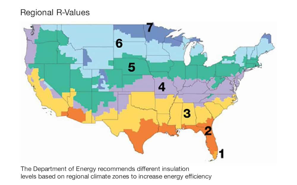 Map of the United States showing regions with R-values, with zone 1 in southern Florida and zone 7 in the northernmost parts of the US.