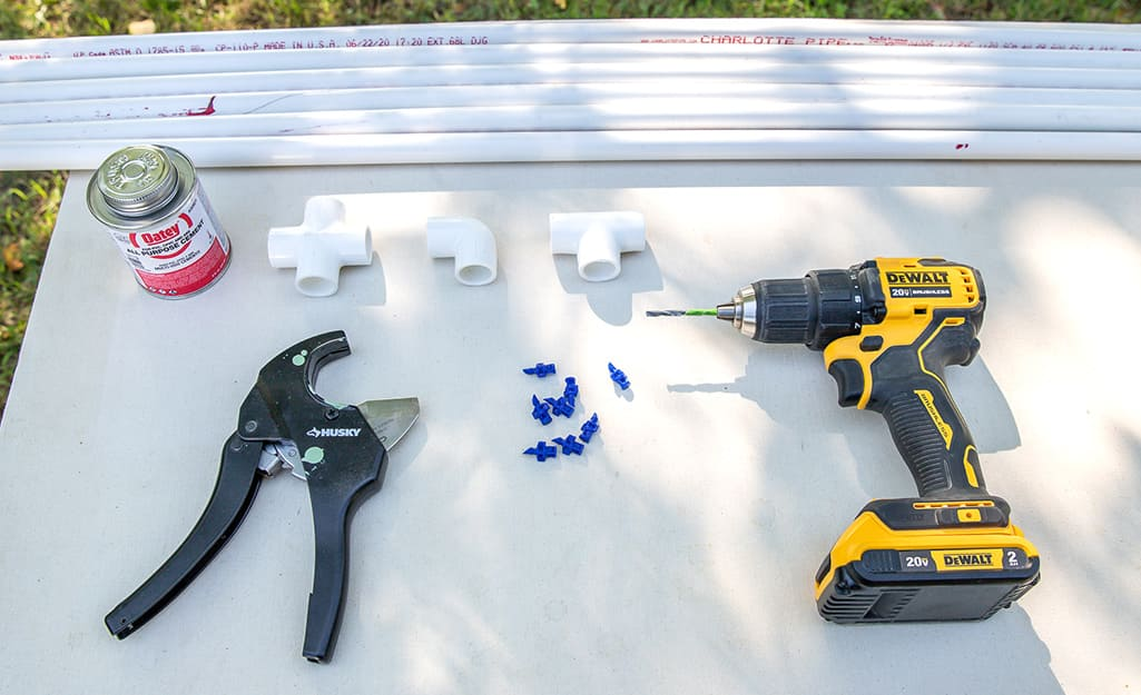 Materials needed for a DIY Kids Sprinkler.