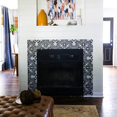 A Fireplace Makeover Using Shiplap Appearance Boards