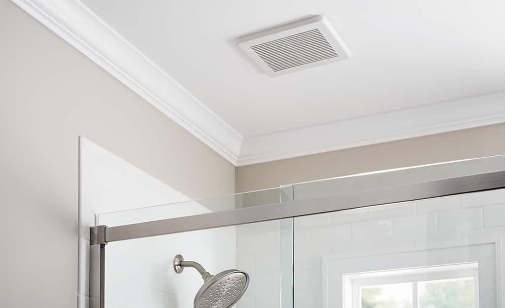 Bath fan above a shower.