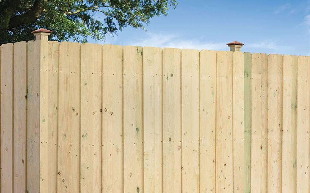 Pressure treated wood fence.