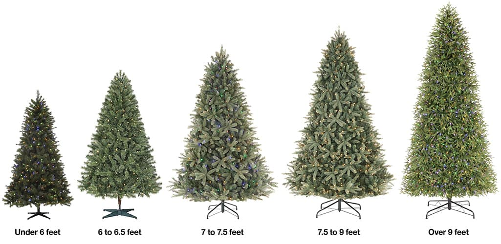 Six artificial Christmas trees ranging from 6 feet to over 9 feet in height.