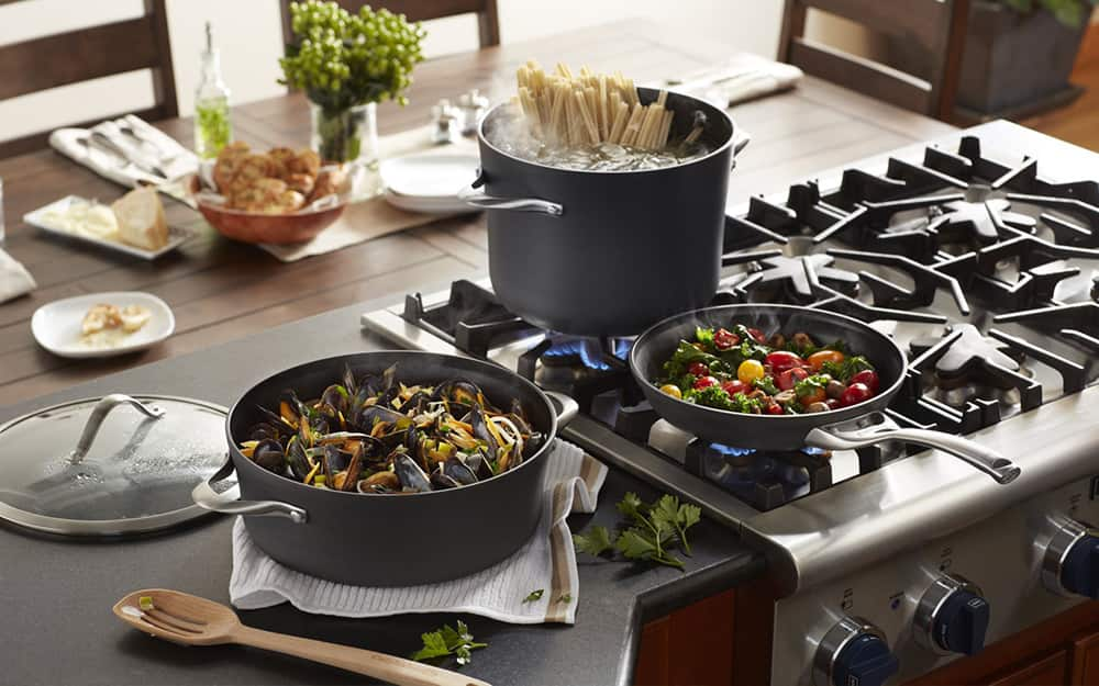 A non-stick cookware set in a kitchen