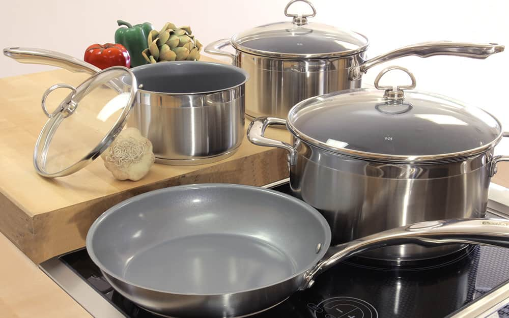 An induction cookware set on an induction cooktop