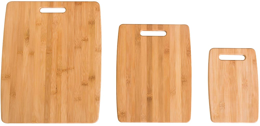 Wood cutting boards in three different sizes.