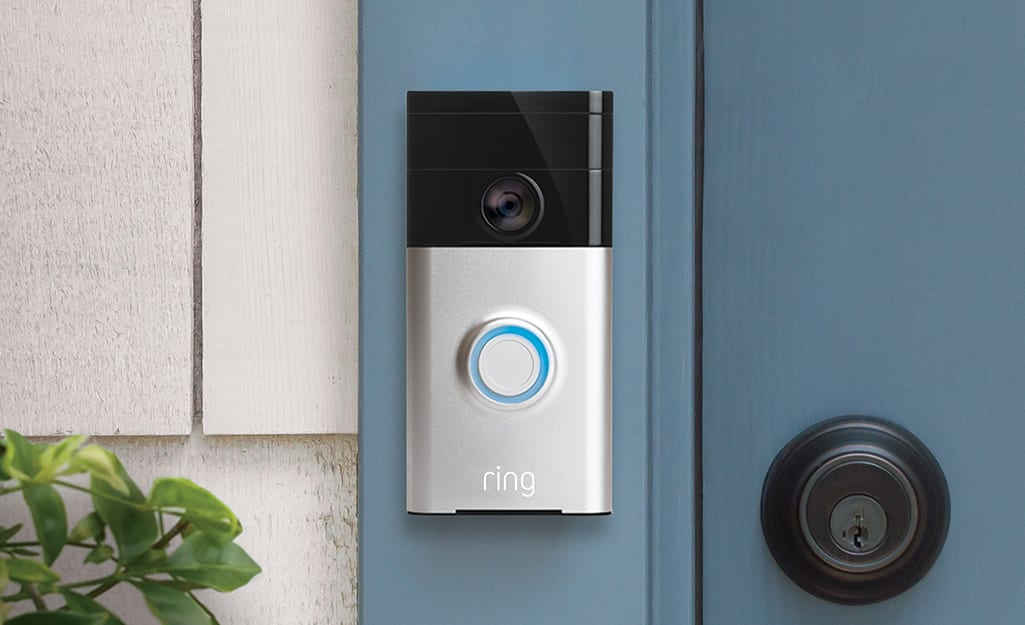 A smart doorbell with a camera.