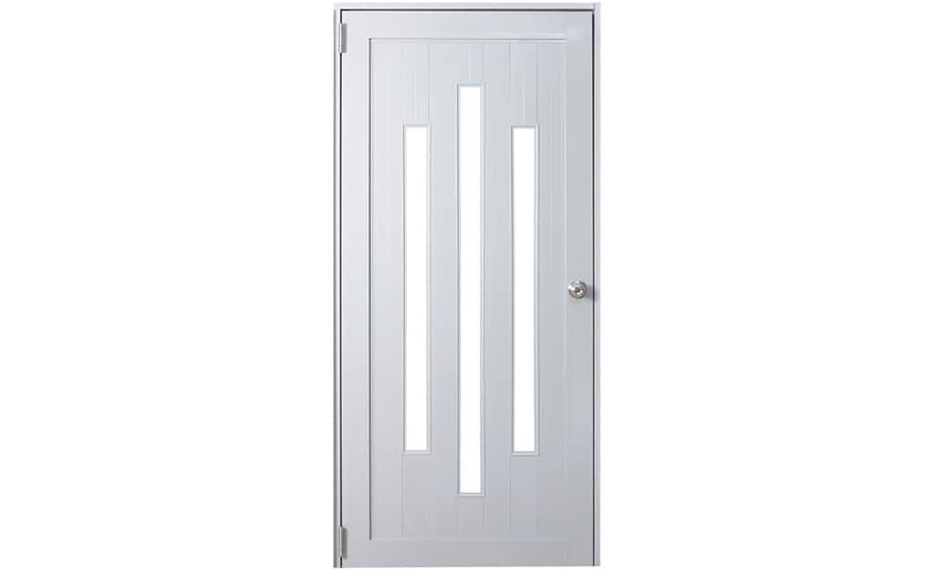 A white prehung exterior door.