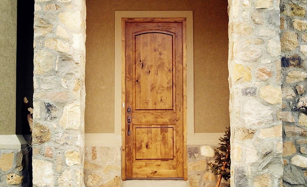 A wood exterior door.