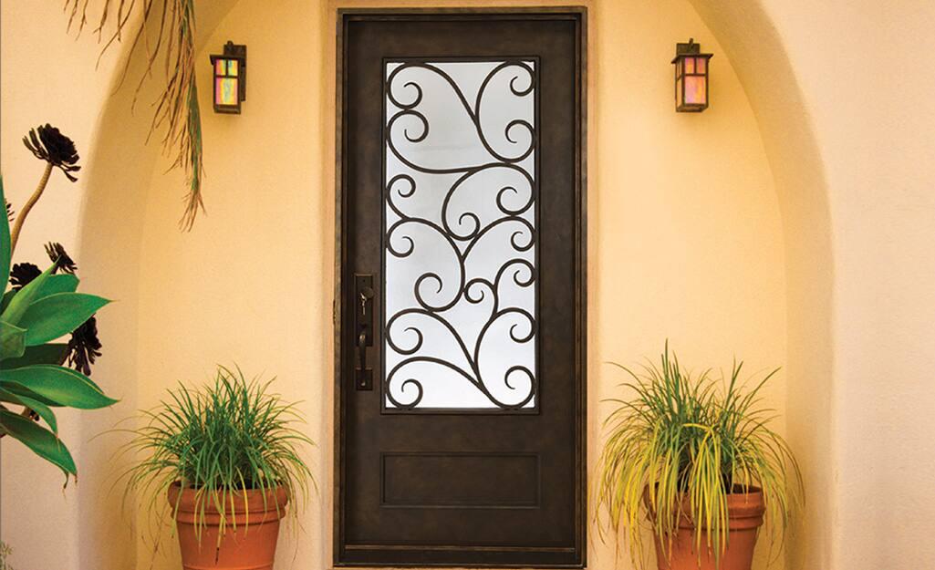 An iron exterior door.