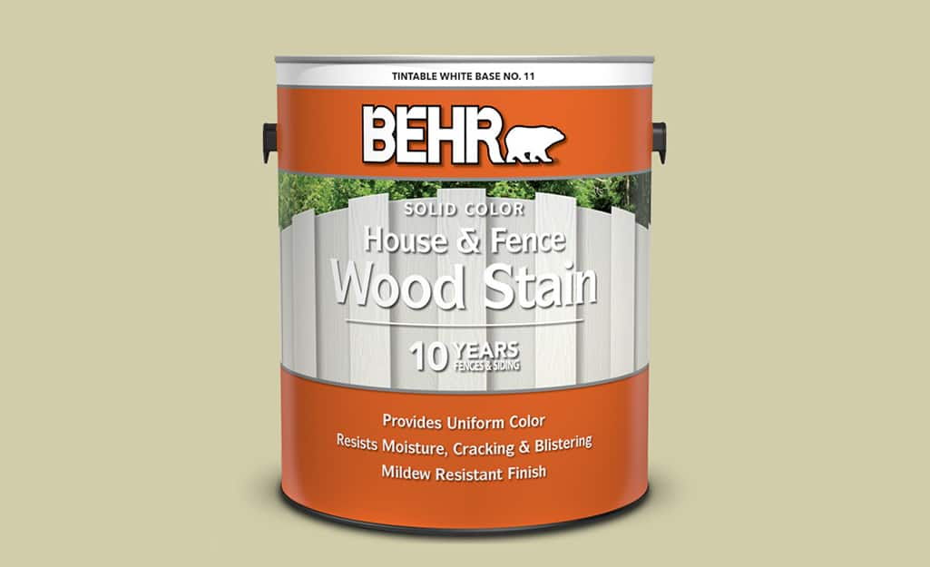 A container of hybrid exterior wood stain.