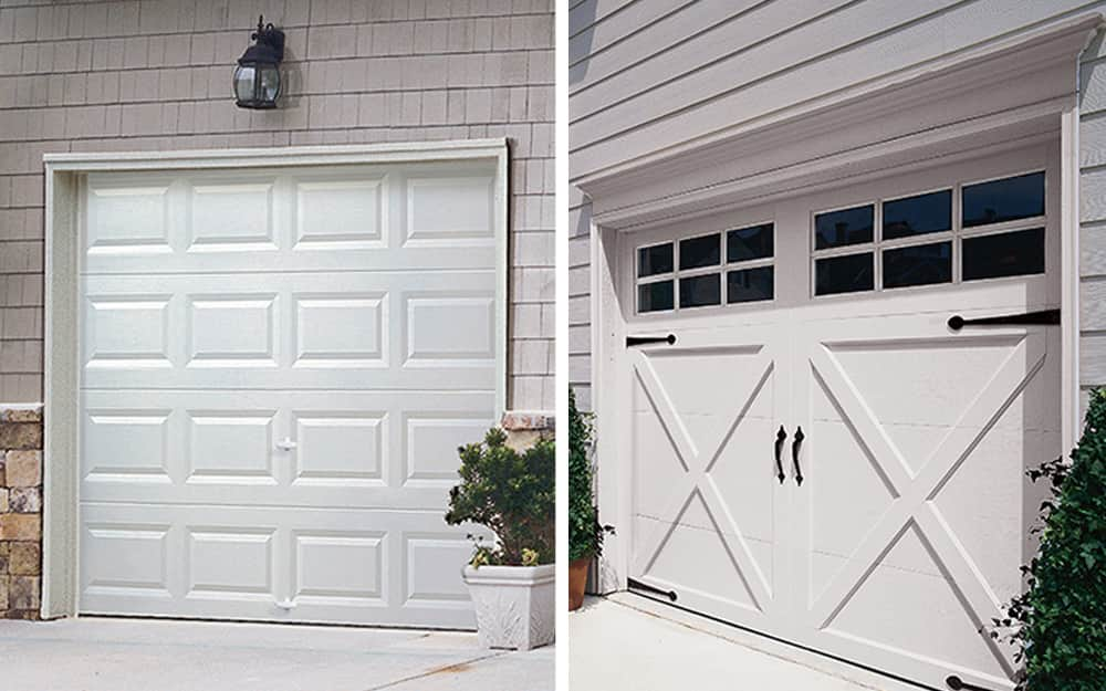 A classic garage door beside a carriage-style garage door.
