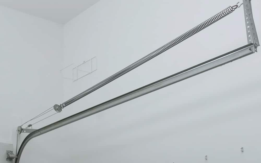 An extension spring for a garage door.