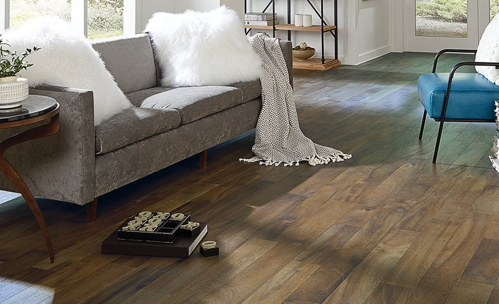A floor that is furnished with Acacia flooring.