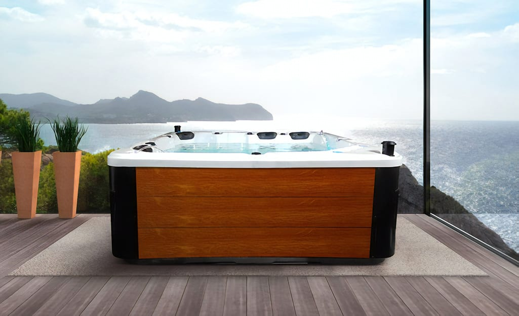 A hot tub built for several people to relax in.