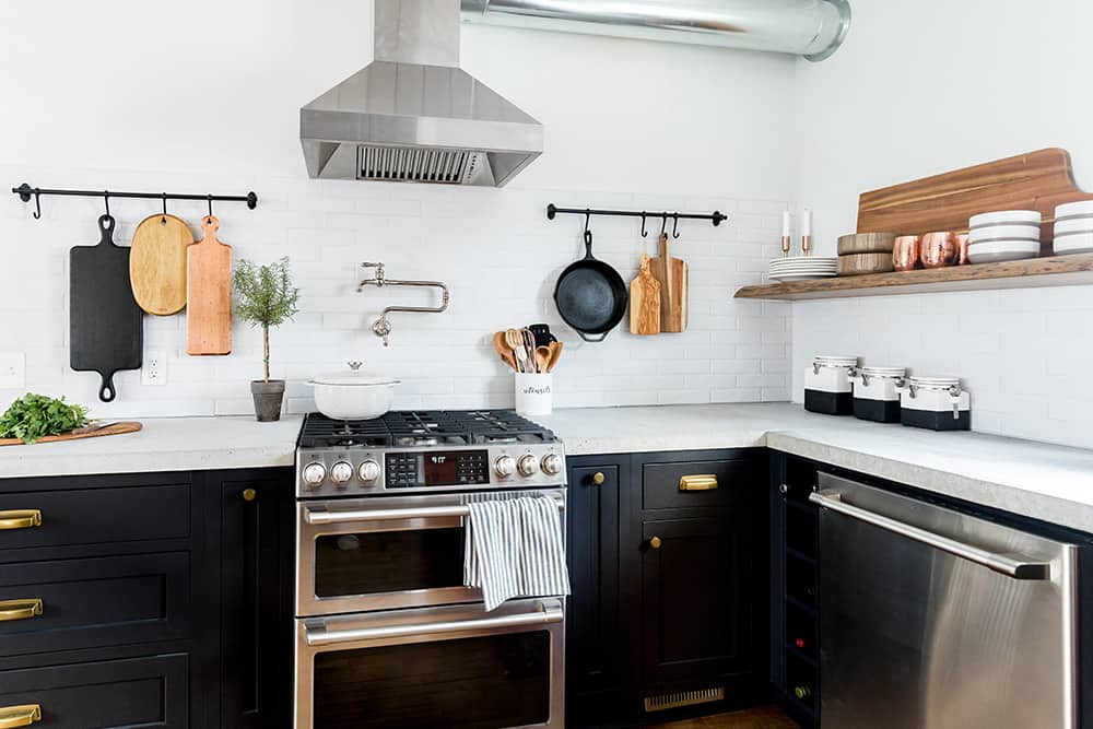 An updated kitchen with GE Cafe series appliances.