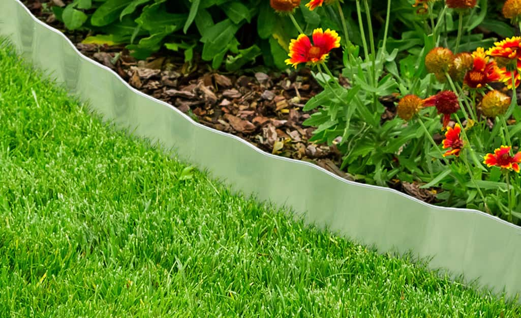 Metal edging installed between a flower bed and lawn.