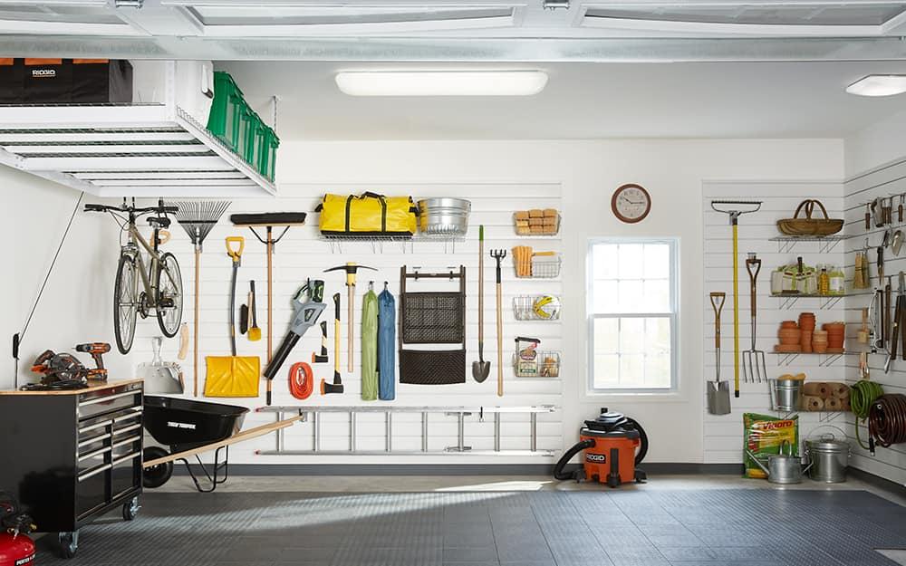 A garage with bright garage lighting.