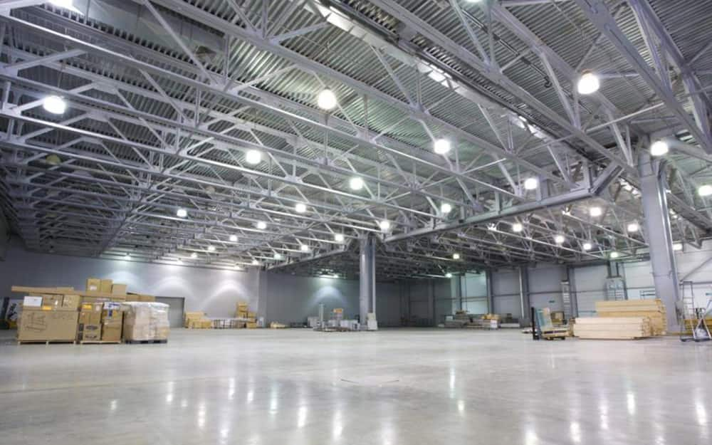A space with high bay garage lighting.