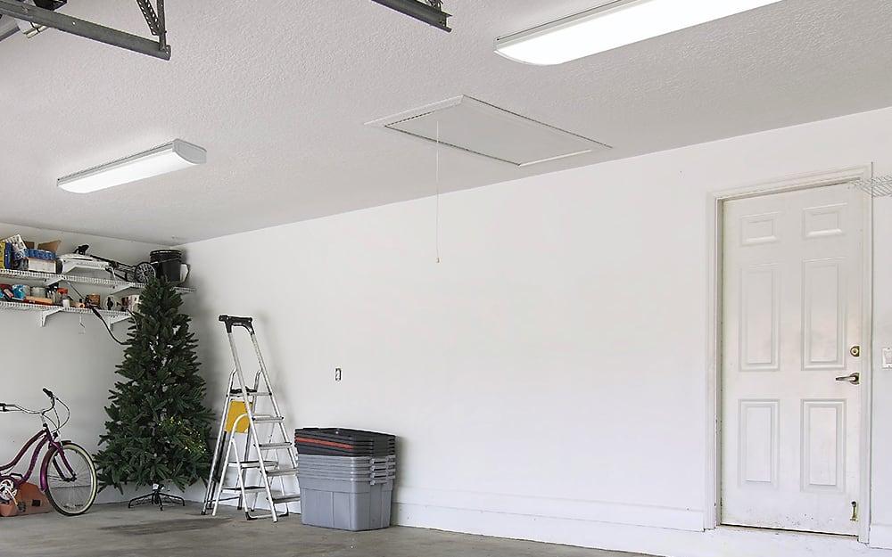 A garage with wraparound garage lights.