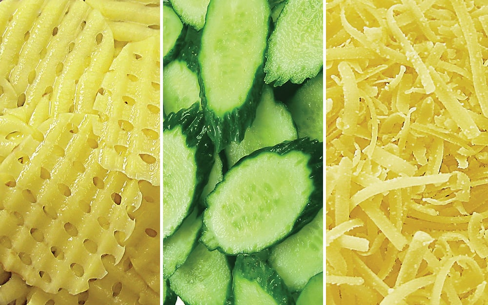 Vegetables demonstrate the different types of cuts from mandoline slicers.