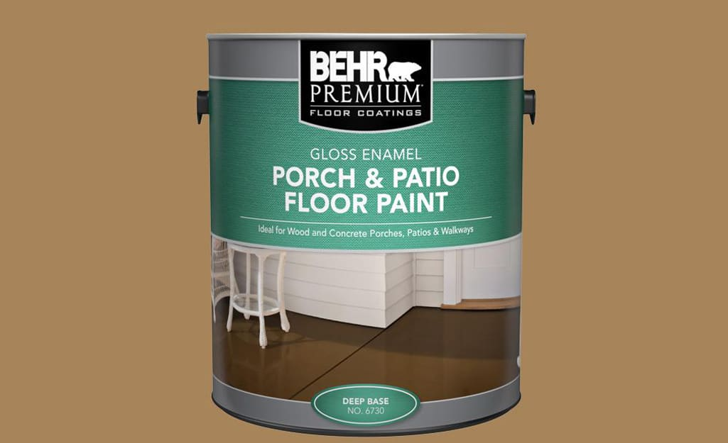 A container of porch and patio floor paint for concrete.
