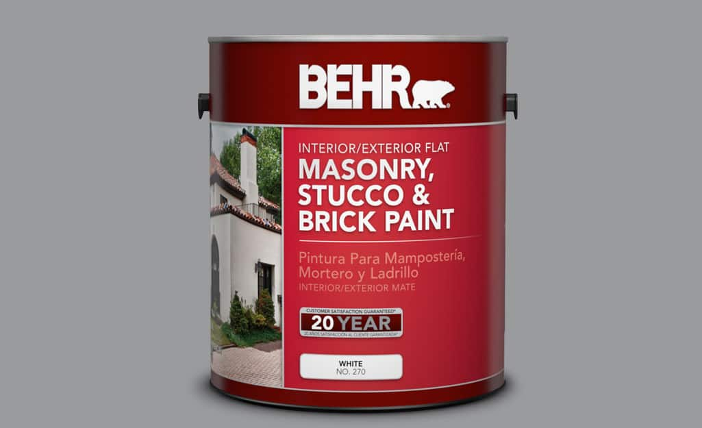 A container of masonry paint.