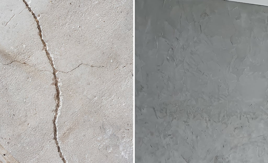 A cracked concrete floor (shown left) is repaired with concrete restorer (left).