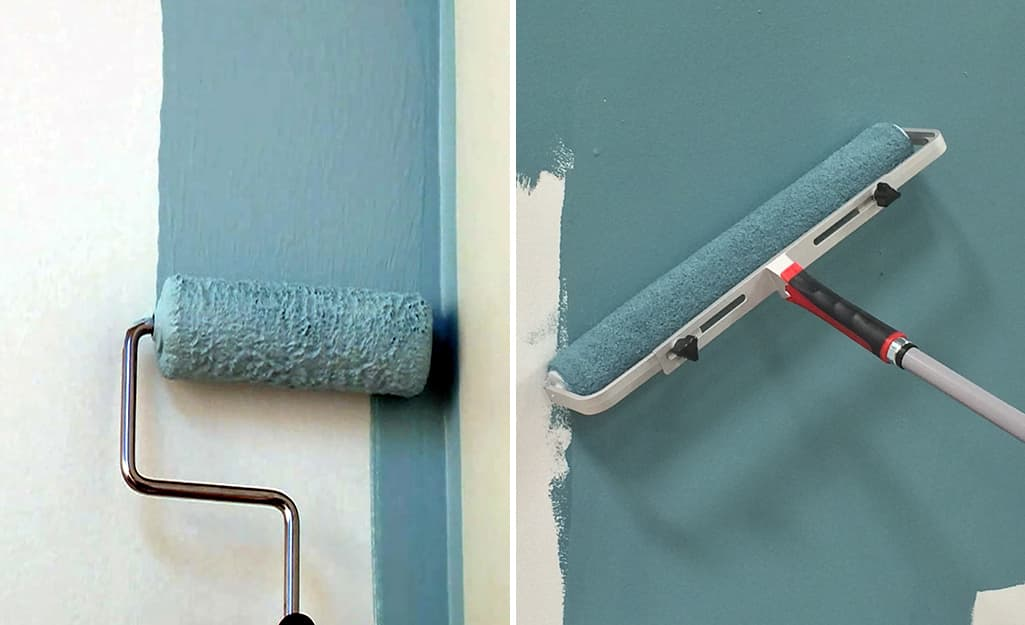 Paint rollers of small and large sizes, from left to right, are used to paint a wall.