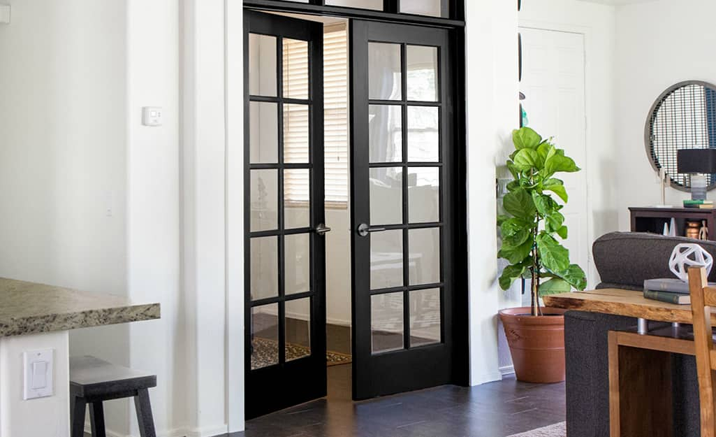 A French patio door with a dark frame.