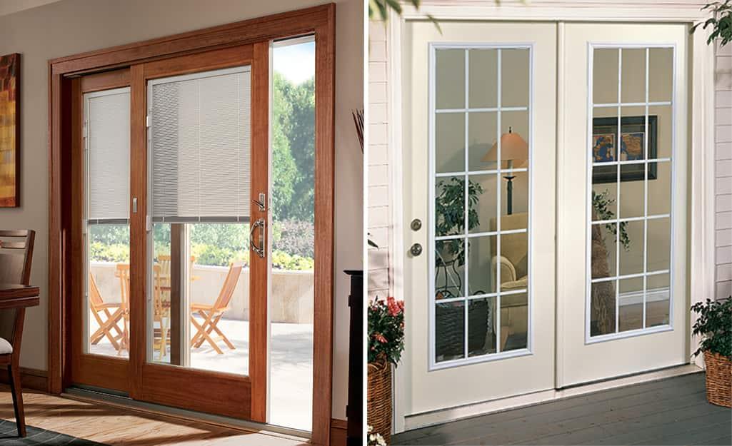 A dual image of a wood patio door and a steel patio door.