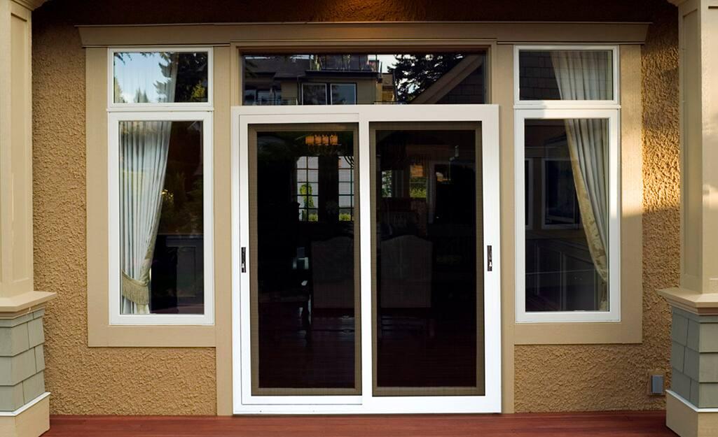 Patio doors with white trim.