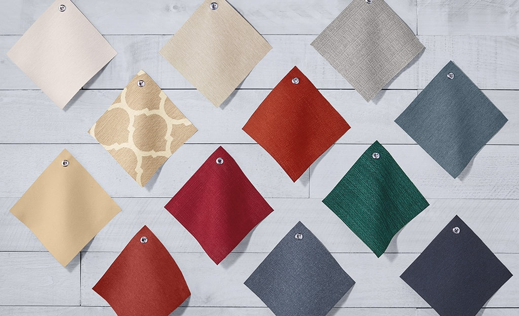 Swatches of different colored and patterned fabric.