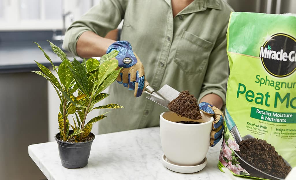 Someone wearing gardening gloves and using a trowel to put sphagnum peat moss potting soil into a white planter.