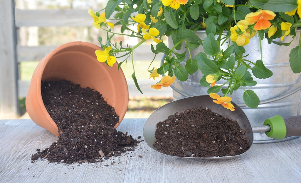 A clay pot turned on its side, with potting soil spilling out, beside a trowel filled with potting soil and a metal bucket holding yellow and orange pansies.