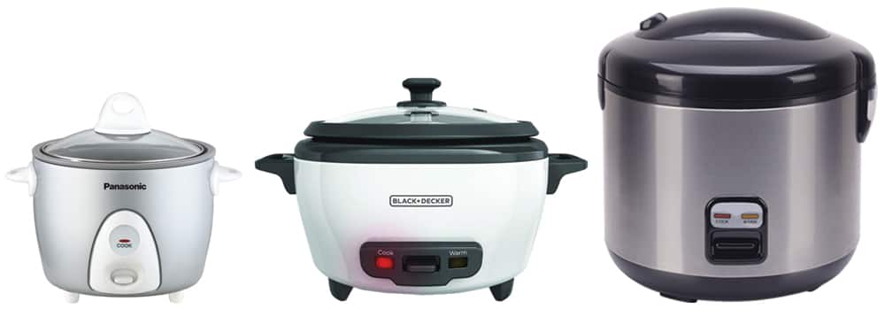 Three different size rice cookers in a row