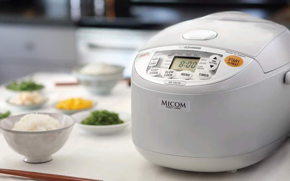 A rice cooker on a kitchen counter