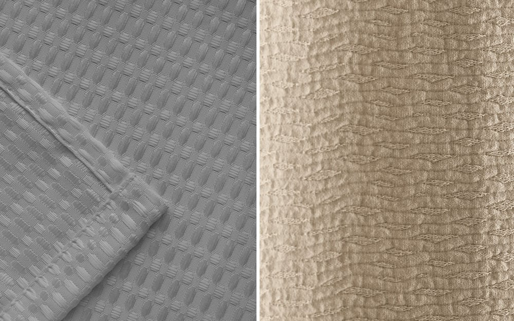 A side-by-side image of different shower curtain fabrics