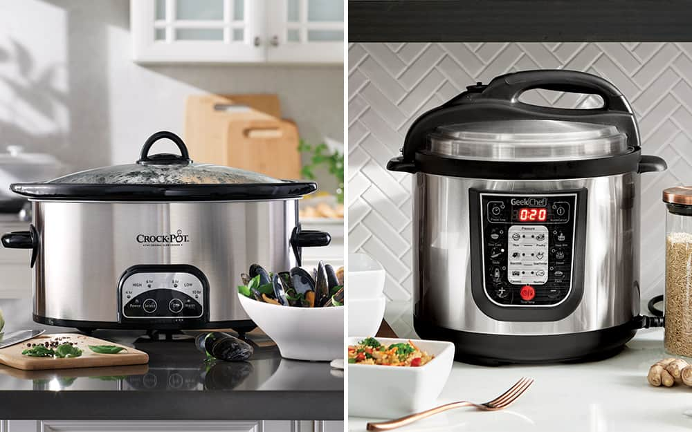 A side by side photo of a slow cooker and an electronic pressure cooker.