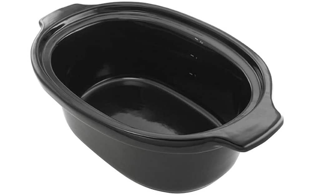 A black ceramic slower cooker insert on a white background.