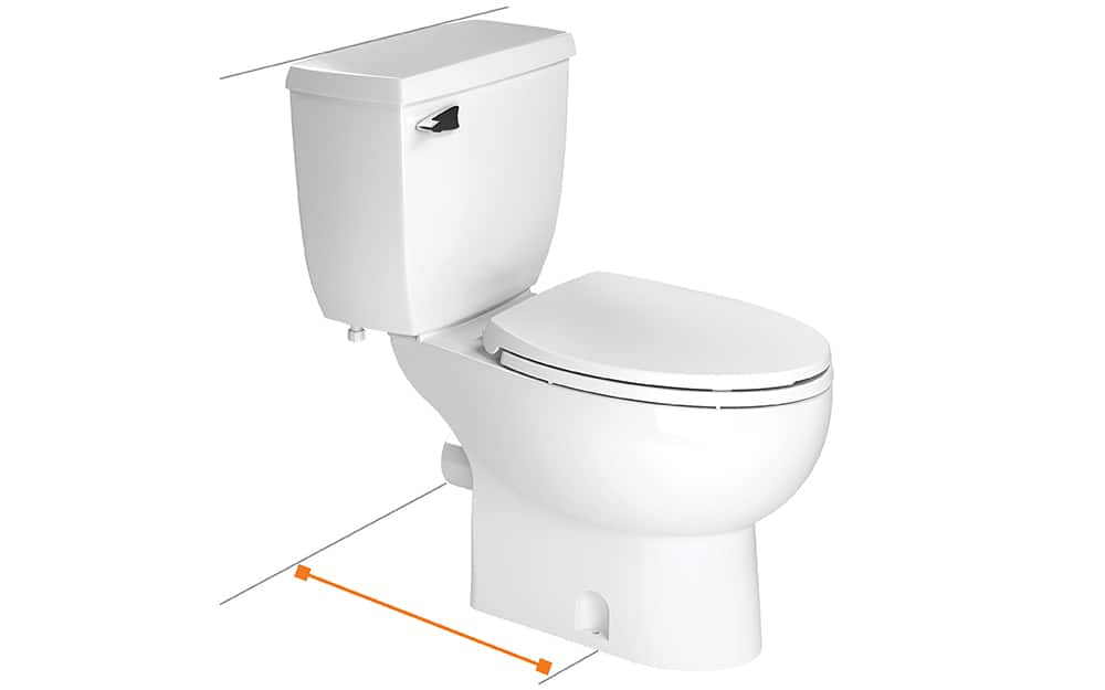 Toilet rough-in is measured from drain to wall.
