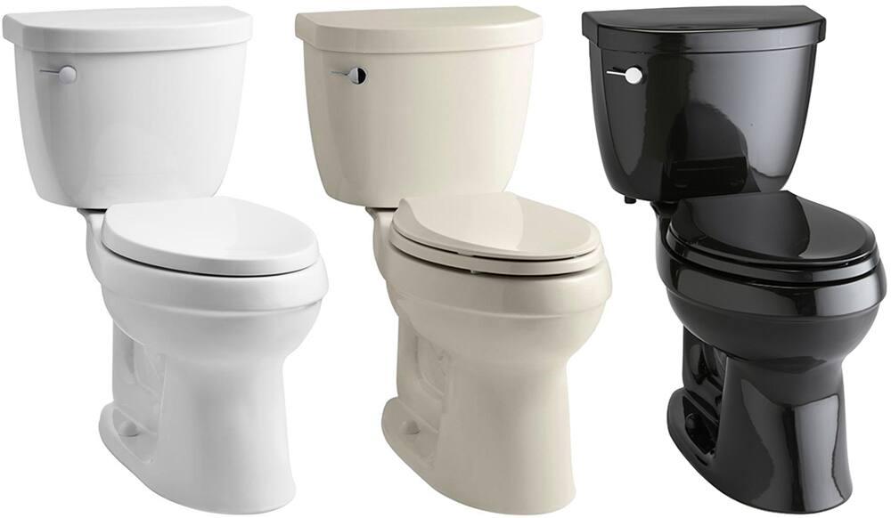 A white toilet, an almond toilet and a black toilet.